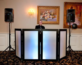 Stellar Sound DJs ready to perform at wedding at the Clarks Landing Yacht Club in Delran.